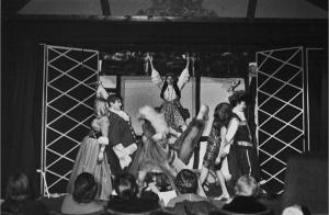 Final curtain, but the only actors readily identifiable by this writer are Karen Faulkner (who played Nancy) precariously balanced at the top of the pyramid, and Andrew Jenner (far right) who played Alphonse.