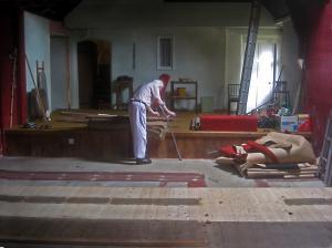 Seats gone, carpet up