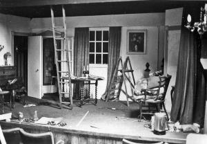 A rare photo of a set in course of being built. Out of chaos . . .