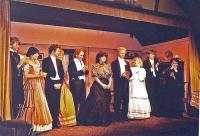 Jackie receiving applause from the cast:  L-R  Bruce Finlay, Pat Stubbs, Adam Hurst, Lindsay Jacques, Peter Burley, Jackie Finlay, Jim Harper, Elaine Donnellan, Jerry Senior, and Margaret Thomas