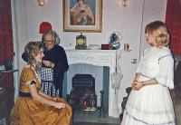 Dressing room:  Beryl Pearce curling Lindsay's hair, Elaine Donnellan