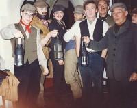 The Villagers (cast in yet more disguises!): L-R  Karl Hammarling, Jonathan Willson, Rob Gorton, Peter Cornah, Brian Clarkin, Jim Harper, Ted Shears, Pauline Hurst