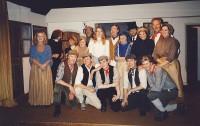 Back row L-R  Elaine Donnellan (Bronwen), Peter Burley (Revd Grufffydd), Denise Glazer (Mrs Madog), Pauline Hurst (Mrs Evans), Alan Harrow (Cyfartha), Lindsay Jacques (Angharad), Brian Clarkin (Iestyn Evans), Margaret Thomas (Mrs Rhys), Peter Cornah (Mr Parry), Jackie Finlay (Mama), Jim Harper (Dada), Amanda Weller (Mrs Powis)Front row L-R  Jonathan Willson (Ivor), Matthew Summers (Davy), Karl Hammarling The Cast(Gwylim), Rob Gorton (Owen), Adam Hurst (Huw)
