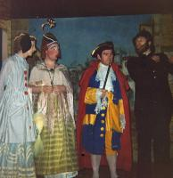 The Ugly Sisters and the Merchant having a spot of bother with P.C. Pinchum (played by Martin Gelling).