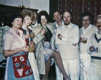 l-r: Jill Edwards, Catherine Nightingale, a glimpse of Neil Canning!, more than a glimpse of our Louise Davies, Jim Harper, Michael Davies, Peter Buckman and Cliff Denton. (Missing here is Mary Gentle, who played Ginnie.)