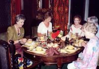 l-r: Pat Goodall, Paula Mitchell, Val Temlett. Beside her, Mike Goodall and Joy Freeman