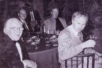 L-r: Fred Temlett; Bruce Cunningham, a shadowy Bruce Finlay, Jim Harper and Keith Bennett