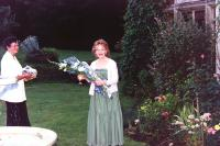 Val Temlett happily receiving a boquet from ?