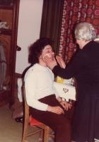 Peter being attended to by Beryl Pearce