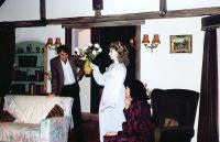 "The ghostly Elvira ""flies"" a vase of flowers to prove her existance to Peter and Jackie"