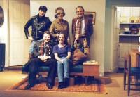 Cast – Back row L- R Adam Hurst (telephone man), Jackie Finlay (Ethel Banks), Bruce Cunningham,(Victor Valasco)  Front Row L-R,  Rob Gorton (Paul Bratter), Debbie Field (Corrie Bratter)