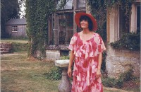 Jackie outside on the verandah - (the building, far left, is the scenery store)