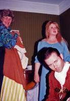 Margaret Fink (wardrobe mistress), Elaine Donnellan (Annie RIdd) and Adam Hurst (Tom Faggus, a highwayman).