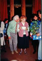 A gift from the cast to Fred & Val at the after show party.In the background, l-r is Ian Bushrod, Morwenna Crichton (Lorna Doone) and Jim Harper (Farmer Snow).