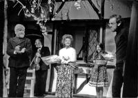 Curtain call, for this show only - left to right: Bob Nurden, violinist Laurence Farbrother, producer Val holding a bouquet, and Karen Faulkner. Stage crew member Robin Watts (his height was so useful on that small stage!) takes a reluctant bow.