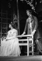"""Here, suitor Esmond  (James Harper) attends Maud, the other sister (Jennifer Tustain) and is warbling that catchy little number """"Come into the garden, Maud""""."""