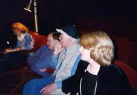 During rehearsals: producer Val, with Phillip, Fred and Elaine