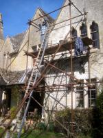 Even a simple repointing job needed scaffolding.