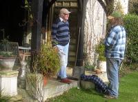 Fred talks to his faithful stonemason Terry Eden.