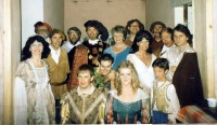Back Row L-r :  Bruce Finlay (Egeus), Chris Rothero (Philostrate), Steve Coles (Flute), George Moon (Starveling)Second row L-r :   Jay Miller (Hermia), Cliff Gadsby (Snout), Jim Harper (Theseus), Sandra Jacques (Hippolyta), Jackie Finlay (Titania), Mike Davies (Bottom), Peter Burley (Lysander)Third Row  L-R Simon Birkitt (Demetrius), Adam Hurst (Puck), Lindsay Jacques (Helena), and it's either Ben or Sam Bradley(Not a complete cast!  Ian Harris (Quince), Norman Pearce (Snug) the two ladies in waiting, and of course the fairies are in other pics)
