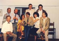 L-R Back row: two unknowns; second row:  Alan Copelin, David Hoad, Denise Glazer, Peter Burley, Jackie Finlay, Norman Roast, Front left:  Jim Harper